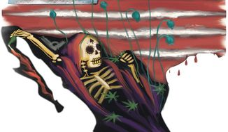 Illustration on the coming epidemic of Mexican drugs into the U.S. by Linas Garsys/The Washington Times