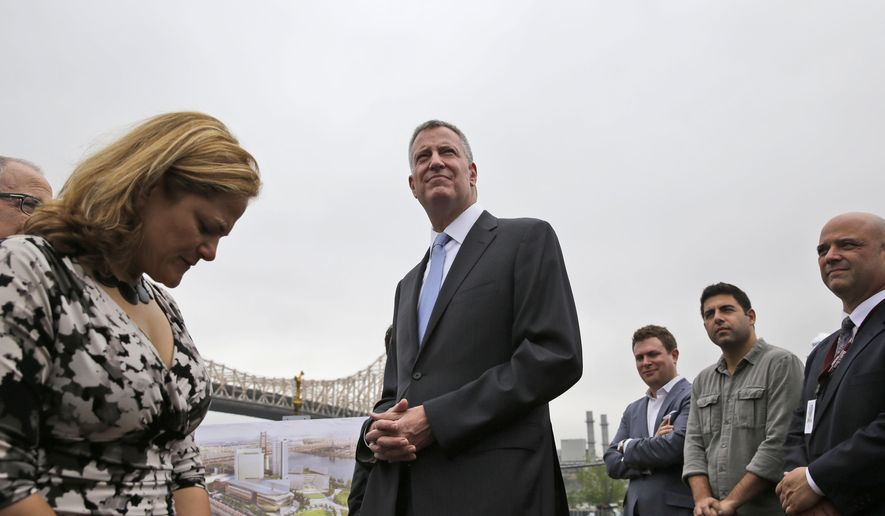 FILE - In this June 16, 2015, file photo, New York City Mayor Bill de Blasio, center, along with Council Speaker Melissa Mark-Viverito, left, and other officials, attends a group breaking ceremony for the Cornell Tech campus on Roosevelt Island in New York. New York City is set to hire nearly 1,300 new police officers as part of its yearly budget agreement, honoring a proposal put forth by the City Council over de Blasio's initial objections, a city official told The Associated Press on Monday, June 22, 2015. (AP Photo/Seth Wenig, File)