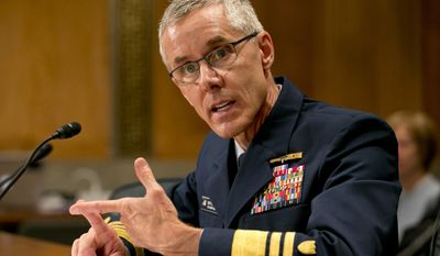 FILE - In this June 10, 2015, file photo, Coast Guard Vice Commandant Peter Neffenger testifies on Capitol Hill in Washington, before the Senate Homeland Security Committee hearing on his nomination to head the Transportation Security Administration (TSA). (AP Photo/Jacquelyn Martin, File)
