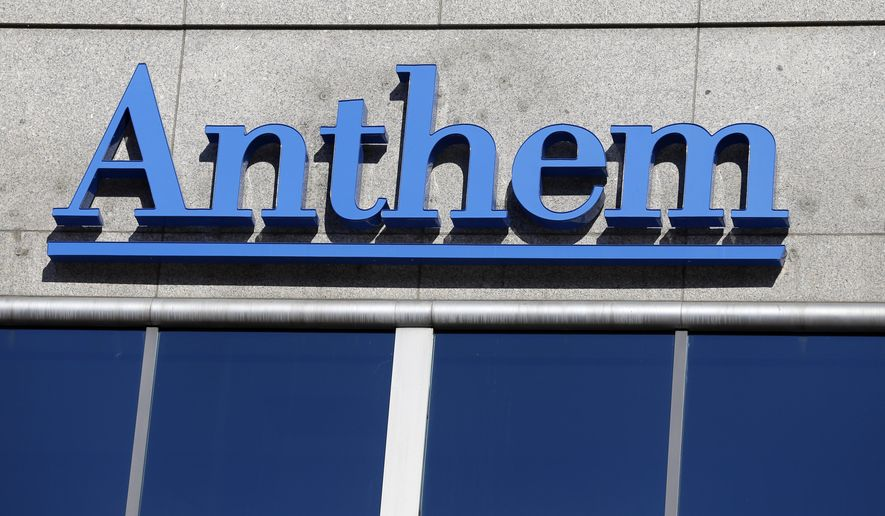 This Feb. 5, 2015, file photo shows the Anthem logo at the health insurer's corporate headquarters in Indianapolis. (AP Photo/Michael Conroy, File)