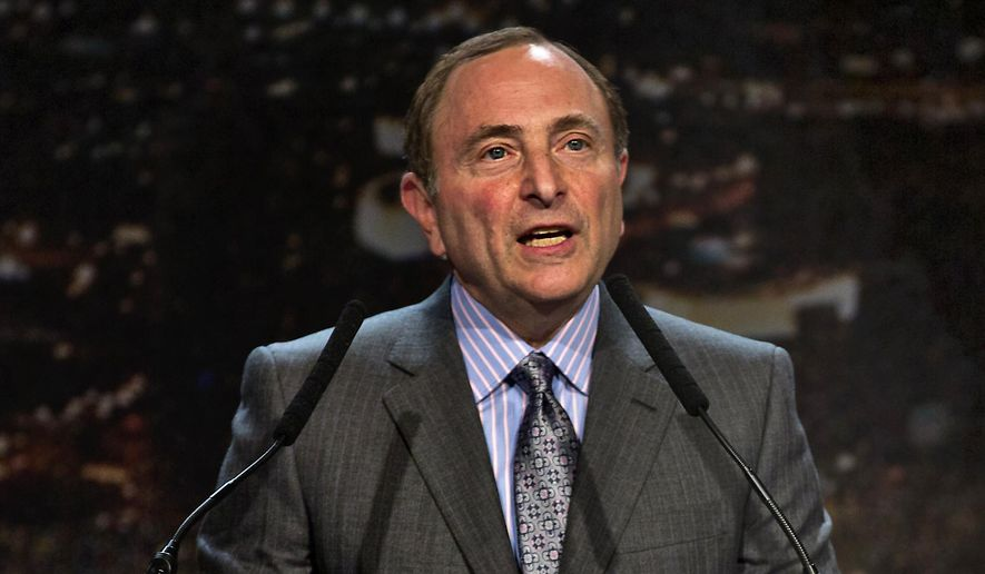 "FILE - In this Feb. 10, 2015, file photo, Gary Bettman, commissioner of the National Hockey League, addresses the crowd during the ""Let's Bring Hockey to Las Vegas!"" news conference at the MGM Grand Ballroom in Las Vegas. With talk of expansion to Las Vegas percolating, the city welcomes the NHL this week for another awards show while general managers and the board of governors set the league's short- and long-term future.  (L.E. Baskow/Las Vegas Sun via AP, File)) LAS VEGAS REVIEW-JOURNAL OUT"