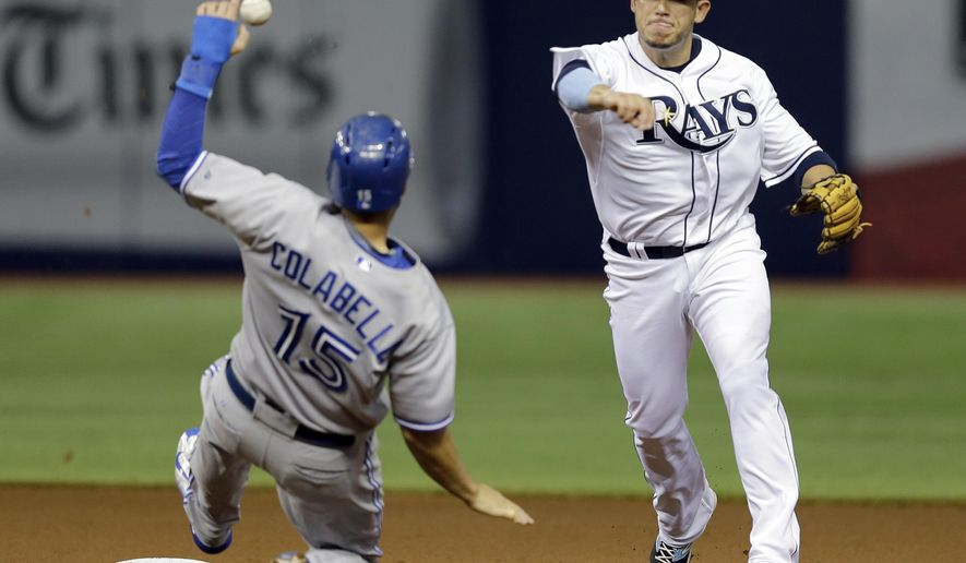 Tampa Bay Rays shortstop Asdrubal Cabrera, right, forces Toronto Blue Jays' Chris Colabello at second base and relays the throw to first base in time to turn a double play on Ezequiel Carrera during the fourth inning of a baseball game Monday, June 22, 2015, in St. Petersburg, Fla.  (AP Photo/Chris O'Meara)