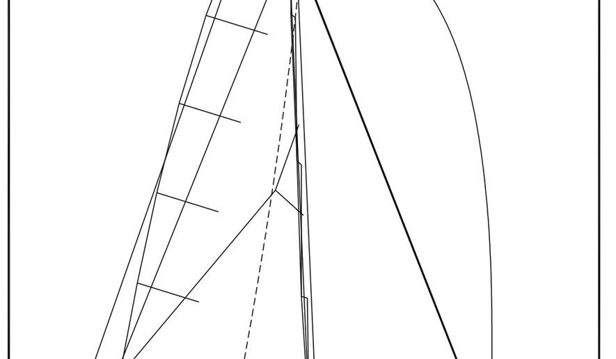 This undated sketch provided by Farr Yacht Design shows a design for an updated version of the 12-meter yacht class that will be sailing in the San Francisco Yacht Racing Challenge starting in July 2017. Acclaimed yacht designer Bruce Farr is coming out of retirement to consult on the design. Farr has extensive experience with one-design boats, including the 65-footers that just completed the closely contested Volvo Ocean Race. (Farr Yacht Design via AP)