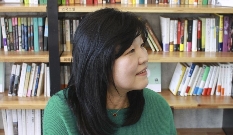 In this March 21, 2013 photo, South Korean novelist Shin Kyung-sook speaks during a press conference in Seoul, South Korea. Shin, one of South Korea's most influential writers, admitted Tuesday, June 23, 2015, to plagiarizing a well-known Japanese author in a short story she published almost a decade ago. (Lee Jae-hoon/Newsis AP) KOREA OUT
