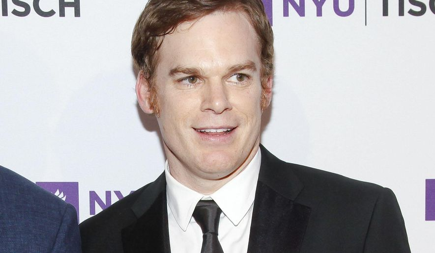 """FILE - In this May 4, 2015 file photo, Michael C. Hall attends the NYU Tisch School of the Arts 2015 Gala at Jazz at Lincoln Center's Frederick P. Rose Hall in New York. The New York Theatre Workshop said Tuesday that Hall will star in the musical """"Lazarus"""" this winter by David Bowie and """"Once"""" playwright Enda Walsh. Hall will play Thomas Newton, which Bowie portrayed in a 1976 film version. (Photo by Andy Kropa/Invision/AP, File)"""
