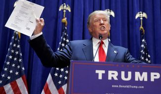 Donald Trump announcing his candidacy for President of the United States