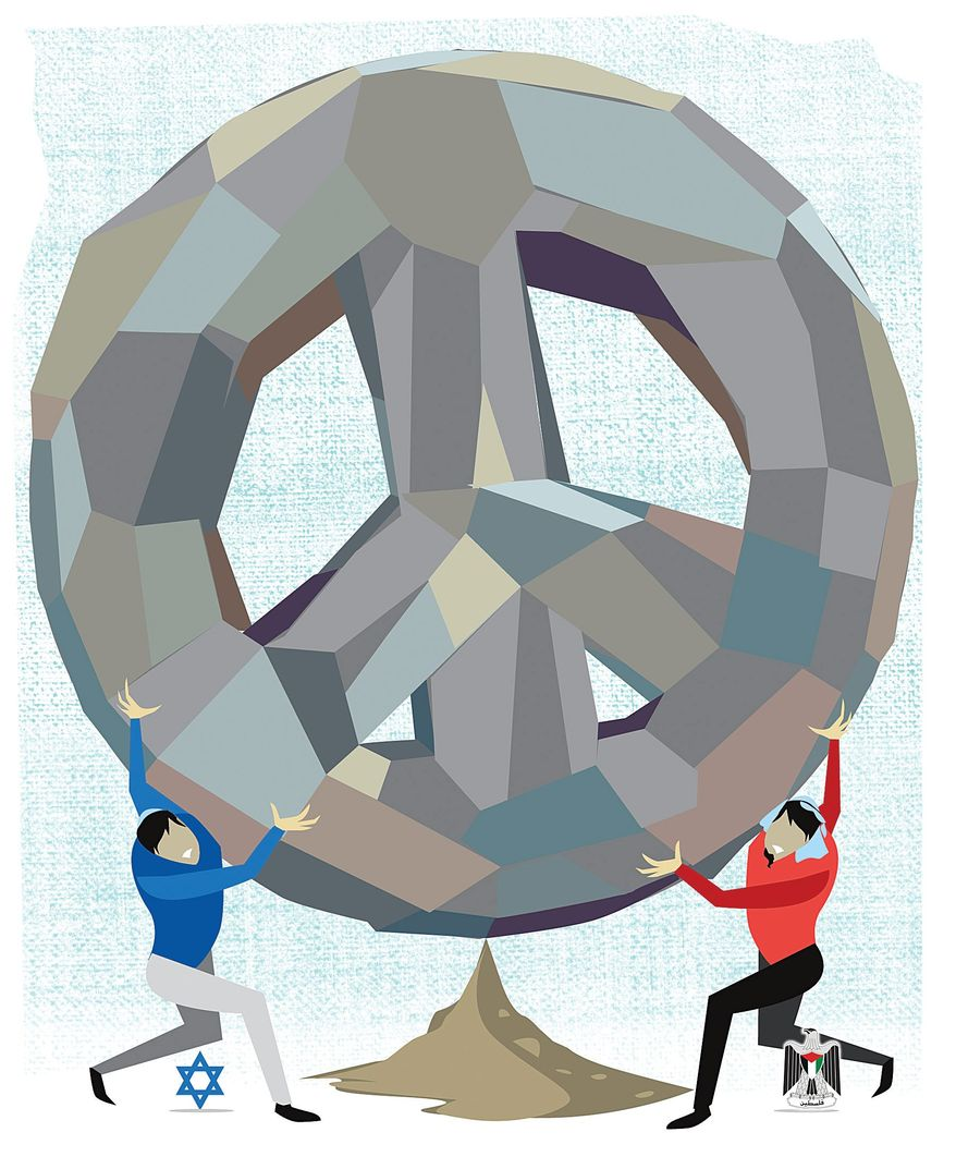 Illustration on the folly of pressuring for an Israeli-Palestinian peace agreement by Linas Garsys/The Washington Times