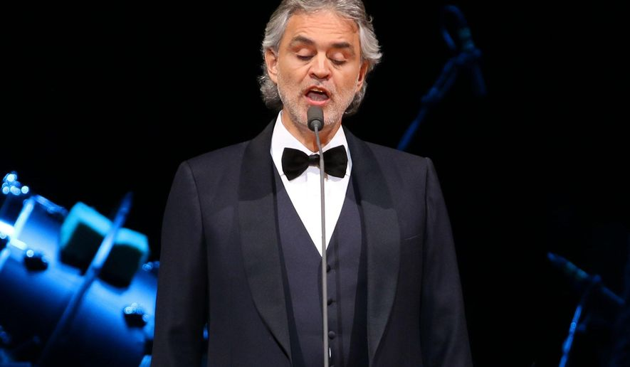 FILE - In this Dec. 17, 2014 file photo, Andrea Bocelli performs in concert at Madison Square Garden in New York. Bocelli, Colombian pop singer Juanes and the Philadelphia Orchestra are among the musical acts organizers say will perform for Pope Francis during his visits to the city this fall. World Meeting of Families organizers say Tuesday, June 23, 2015, the singers and symphony orchestra will appear at the Festival of Families celebration Sept. 26 on the Benjamin Franklin Parkway in downtown Philadelphia.  (Photo by Greg Allen/Invision/AP)