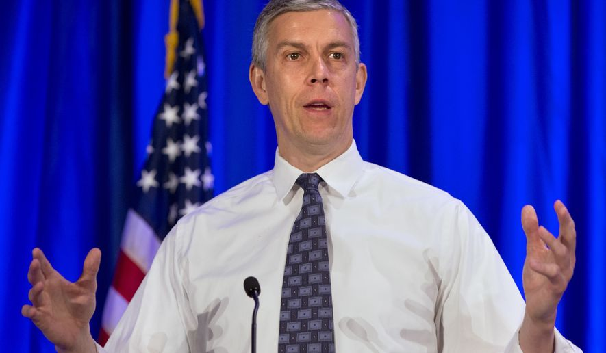 FILE - In this May 12, 2015 file photo, Education Secretary Arne Duncan speaks in Arlington, Va. Nearly 1 in 4 surveyed U.S. students say they have been bullied in school. That's an improvement, but the prevalence reinforces just how difficult the problem is to solve. A 6 percentage point decline _ from 28 percent of students age 12 to 18 saying they were bullied in 2013 compared to 22 percent two years earlier _ comes after years of focus on the problem from local school officials on up to the federal government. It's the lowest level since the National Center for Education Statistics began surveying students on bullying in 2005, the Education Department said Friday when the results were released. (AP Photo/Jacquelyn Martin, File)