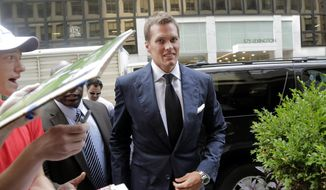 New England Patriot's quarterback Tom Brady arrives for his appeal hearing at NFL headquarters in New York, Tuesday, June 23, 2015. Brady and representatives from the players' union are meeting with Commissioner Roger Goodell as the New England quarterback appeals his four-game suspension. (AP Photo/Mark Lennihan)