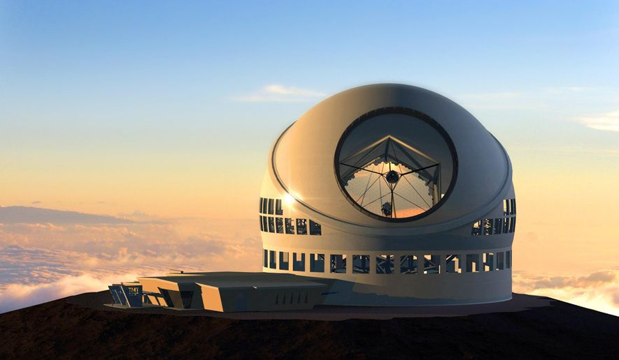 FILE - This undated file artist rendering made available by the TMT Observatory Corporation shows the proposed Thirty Meter Telescope, planned to be built atop Mauna Kea, a large dormand volcano in Hilo on the Big Island of Hawaii in Hawaii. Gov.  About 20 people opposed to building what would be one of the world's largest telescopes on a Hawaii mountain are camped out near the construction site, Tuesday, June 23, 2015, vowing to stop work from resuming.  (AP Photo/TMT Observatory Corporation, File) NO SALES