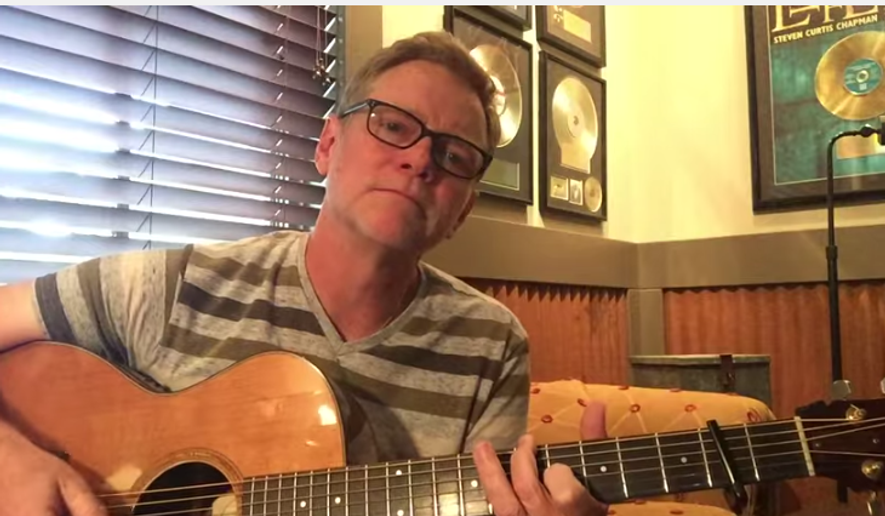 A screenshot of the YouTube video of Steven Curtis Chapman published, playing a song he wrote for Charleston, South Carolina.