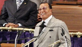 National of Islam leader Louis Farrakhan speaks at the Metropolitan AME Church in Washington to announce plans for the Millions for Justice march to be held in Washington on Oct. 10, during a news conference Wednesday, June 24, 2015. He said he intends to hold the rally Oct. 10 on the National Mall, the same place where the original Million Man March took place in 1995.  (AP Photo/Glynn A. Hill)