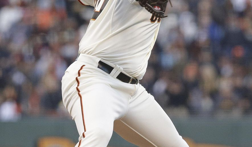 San Francisco Giants starting pitcher Madison Bumgarner throws against the San Diego Padres in the fourth inning of their baseball game Tuesday, June 23, 2015, in San Francisco. (AP Photo/Eric Risberg)