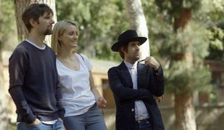 "This photo provided by courtesy of The Orchard shows, from left, Adam Scott, Taylor Schilling, and Jason Schwartzman, in a scene from the film, ""The Overnight."" The movie opens in U.S. theaters on Friday, June 19, 2015. (John Guleserian/The Orchard via AP)"