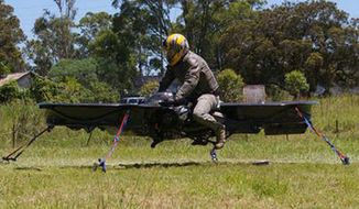"The U.S. Army Research Laboratory has awarded contracts to Malloy Aeronautics (MA) and Survice Engineering to develop ""Star Wars""-like hoverbike technology. (Image: Malloy Aeronautics) ** FILE **"