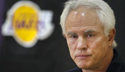 In this Nov. 9, 2012, file photo, Los Angeles Lakers general manager Mitch Kupchak talks during an NBA basketball news conference in El Segundo, Calif. (AP Photo/Damian Dovarganes, File)