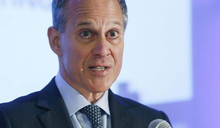 FILE - In this Sept. 14, 2014, file photo, New York State Attorney General Eric Schneiderman speaks during the annual meeting of the Business Council of New York State at the Sagamore Resort in Bolton Landing, N.Y. Amid national debate over holding officers criminally accountable for killings by police, New York is giving such cases special consideration by appointing the attorney general to investigate them, for now.  (AP Photo/Mike Groll, File)