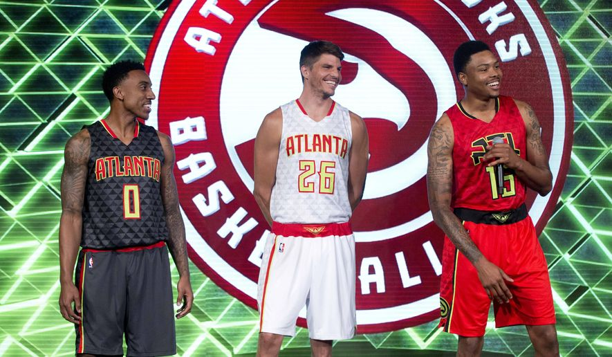 Atlanta Hawks Players From Left Jeff Teague Kyle Korver And Kent Bazemore Laugh