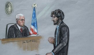 In this courtroom sketch, Boston Marathon bomber Dzhokhar Tsarnaev, right, stands before U.S. District Judge George O'Toole Jr. as he addresses the court during his sentencing, Wednesday, June 24, 2015, in federal court in Boston. (Jane Flavell Collins via AP) ** FILE **
