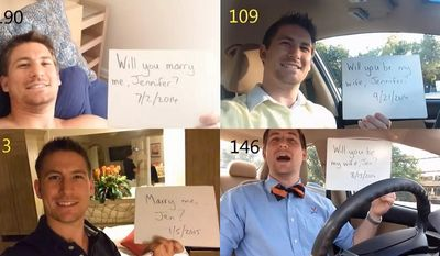 365 Proposal: Make the proposal last an entire year, without the bride realizing it!  One man decided to make a video of himself, proposing every single day for one year, culminating in a proposal on a beach in Aruba.  She said yes! (Photos: Howheasked.com)