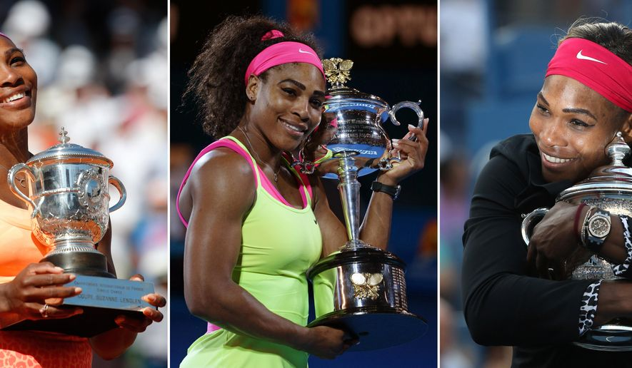 FILE - At left, in a June 6, 2015, photo, Serena Williams holds the trophy after winning the women's singles final of the French Open tennis tournament against Lucie Safarova of the Czech Republic in Paris, France. At center, in this Jan. 31, 2015, file photo, Serena Williams holds the trophy after defeating Maria Sharapova of Russia in the women's singles final at the Australian Open tennis championship in Melbourne, Australia. At right, in this Sept. 7, 2014, file photo, Serena Williams hugs the championship trophy after defeating Caroline Wozniacki, of Denmark, in the women's singles final of the 2014 U.S. Open tennis tournament in New York. (AP Photo/File)