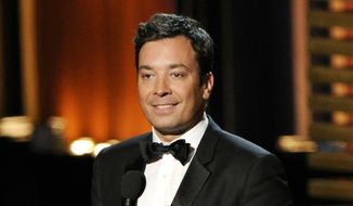 "Jimmy Fallon presents an award at the 66th Annual Primetime Emmy Awards in Los Angeles in this Aug. 25, 2014, file photo. Fallon is on the shelf following a hand injury that required minor surgery Friday and forced NBC to cancel a taping of his late-night TV program, ""The Tonight Show Starring Jimmy Fallon."" (Photo by Chris Pizzello/Invision/AP, File)"
