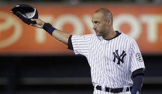 In this Sept. 25, 2014, file photo, New York Yankees shortstop Derek Jeter acknowledges applause from fans as he takes the field for a baseball game against the Baltimore Orioles in New York. Jeter, who lived in New Jersey until he was four-years-old, was one of 13 named to the New Jersey Hall of Fame on Friday, June 26, 2015. (AP Photo/Julie Jacobson, File)