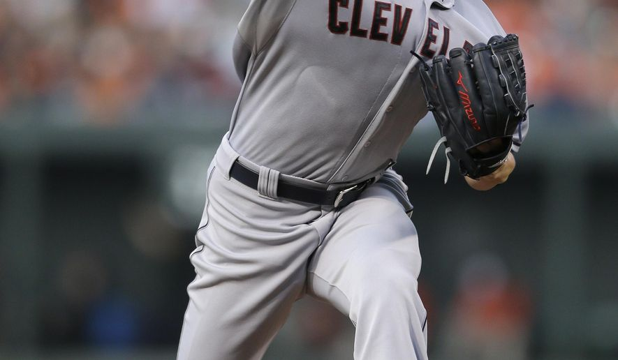 Cleveland Indians starting pitcher Corey Kluber throws to the Baltimore Orioles in the third inning of a baseball game, Friday, June 26, 2015, in Baltimore. (AP Photo/Patrick Semansky)