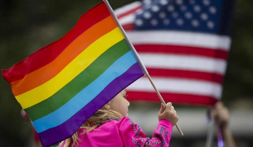 Keira Phair, of Westchester, Ohio, holds a rainbow flag during the Cincinnati Pride parade, Saturday, June 27, 2015, in Cincinnati. On Friday, the U.S. Supreme Court ruled that same-sex couples have the right to marry nationwide. (AP Photo/John Minchillo)