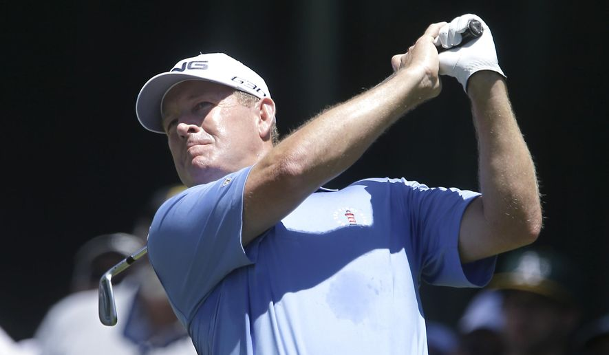 Jeff Maggert tees off on the third hole during the final round of the U.S. Senior Open golf tournament at Del Paso Country Club in Sacramento, Calif., Sunday, June 28, 2015. (AP Photo/Rich Pedroncelli)