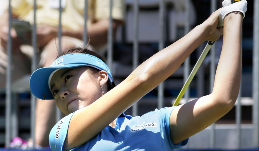 Mi Jung Hur, of South Korea, tees off during the final round of the NW Arkansas Championship LPGA golf tournament at Pinnacle Country Club in Rogers, Ark., Sunday, June 28, 2015. (AP Photo/Danny Johnston)