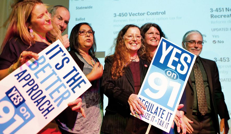 File--In this Nov. 4, 2014, file photo, supporters for the legalization of marijuana celebrate at the Measure 91 party at Holocene night club in Portland, Ore. Last November, Oregon voted to make recreational marijuana legal as of July 1, 2015.  (Madeline Stone/The Oregonian via AP, file)  MANDATORY CREDIT