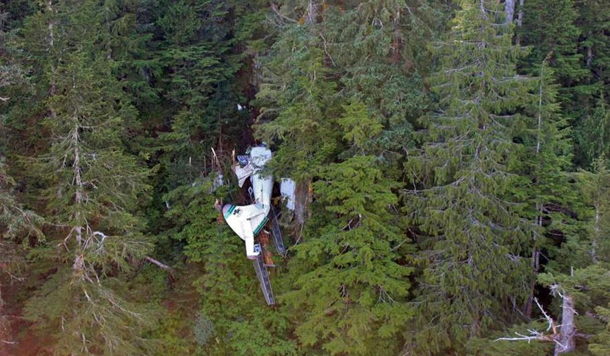 This photo, posted Sunday, June 28, 2015, on the Twitter page of the National Transportation Safety Board, shows the wreckage of a sightseeing plane that crashed in remote, mountainous terrain about 25 miles from Ketchikan in southeast Alaska on Thursday, June 25. All eight passengers and the pilot were killed. The plane was on its way back from the Misty Fjords National Monument when it crashed. The eight victims were passengers on a cruise ship, and the side trip on the floatplane was sold through the cruise company Holland America. (National Transportation Safety Board via AP)