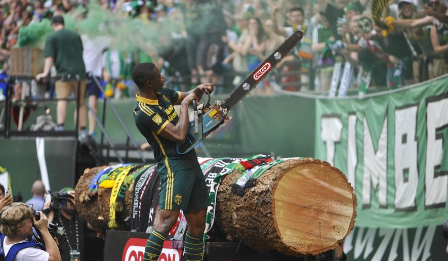 Portland Timbers'  Fanendo Adi (9) celebrates his goal by jumping the fence and holding up the chainsaw for the fans during the second half of an MLS Soccer game in Portland, Ore., Sunday June 28, 2015.  Portland beat Seattle 4-1. (AP Photo/Greg Wahl-Stephens)