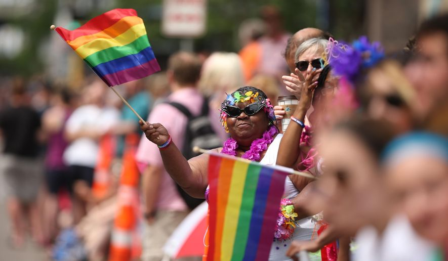 In this file photo, a woman waves a rainbow flag during the Gay Pride Parade in Minneapolis, Sunday, June 28, 2015.  (Jeff Wheeler/Star Tribune via AP) **FILE**