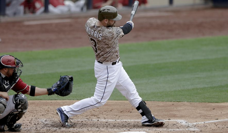 San Diego Padres' Derek Norris hits a two-run home run against the Arizona Diamondbacks during the fourth inning of a baseball game Sunday, June 28, 2015, in San Diego. (AP Photo/Gregory Bull)