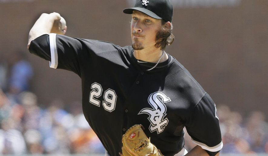 Chicago White Sox starting pitcher Jeff Samardzija throws during the first inning of a baseball game against the Detroit Tigers, Sunday, June 28, 2015, in Detroit. (AP Photo/Carlos Osorio)