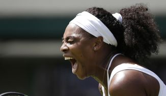 Serena Williams of the United States celebrates a point during the women's singles first round match against Margarita Gasparyan of Russia at the All England Lawn Tennis Championships in Wimbledon, London, Monday June 29, 2015. (AP Photo/Pavel Golovkin)
