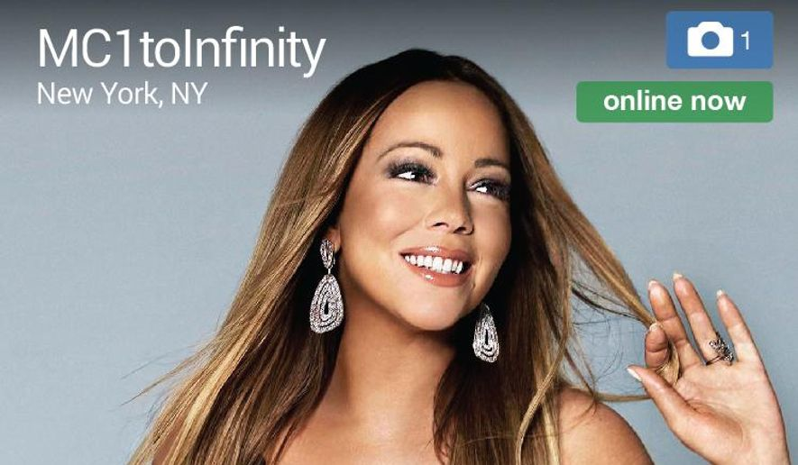 "This screen image released by Match.com shows the profile page for singer  Mariah Carey. From Madonna to Carey, more and more acts are looking to platforms like Tinder and Match to promote their music and reach their fans on-the-go. Carey launched a profile in June 2015 on Match.com to premiere her music video for the single, ""Infinity."" (Match.com via AP, File)"