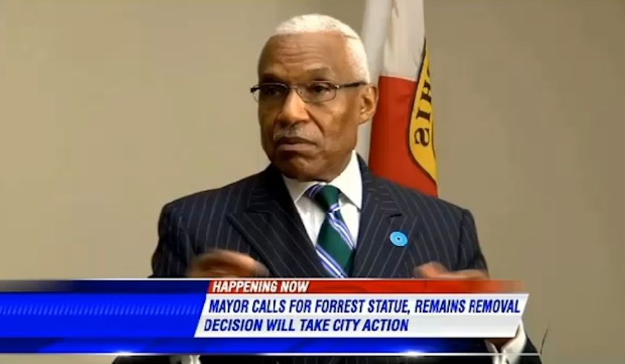 Memphis Mayor A C Wharton Jr. announced a proposal Thursday to remove the statue and grave sites of Confederate Gen. Nathan Bedford Forrest and his wife. (WMC Action News 5)