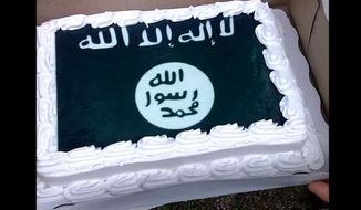 ISIS cake baked by Wal-Mart after refusing to decorate a cake with an image of the Confederate flag. (courtesy ABC News)
