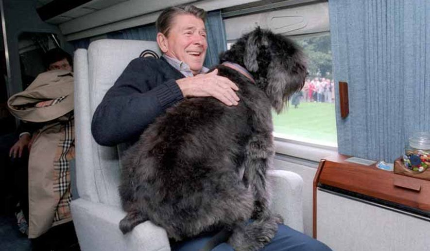 Ronald Reagan aboard a helicopter with one of his dogs, Lucky.