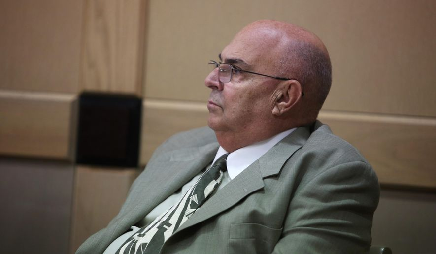 """Anthony Moscatiello listens to the prosecutions' closing arguments during his retrial in Fort Lauderdale Monday, June 29, 2015, in Fort Lauderdale, Fla. Moscatiello could get the death penalty if convicted for the 2001 shooting death of Konstantinos """"Gus"""" Boulis, former SunCruz Casinos chief and founder of Miami Subs restaurants. (Susan Stocker/South Florida Sun-Sentinel via AP, Pool) ** FILE **"""