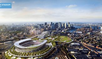 This architect's rendering released Monday, June 29, 2015, by the Boston 2024 planning committee shows an Olympic stadium that is proposed to be built in Boston if the city is awarded the Summer Olympic games in 2024. The Boston group trying to land the Olympics released the most detailed look yet at its bid for the Summer Games, unveiling a $4.6 billion plan it says would create jobs and housing, expand the tax base and leave behind an improved city with a $210 million surplus. (Elkus Manfredi Architects for Boston 2024 via AP)
