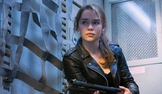 """This photo provided by Paramount Pictures shows, Emilia Clarke as Sarah Connor, in """"Terminator Genisys,"""" from Paramount Pictures and Skydance Productions. (Melinda Sue Gordon/Paramount Pictures via AP)"""