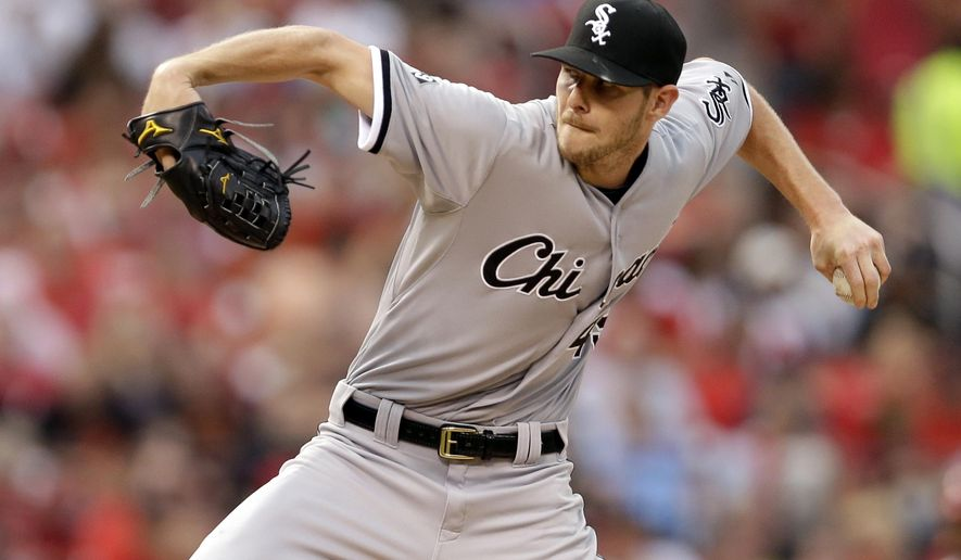 Chicago White Sox starting pitcher Chris Sale throws during the first inning of a baseball game against the St. Louis Cardinals on Tuesday, June 30, 2015, in St. Louis. (AP Photo/Jeff Roberson)