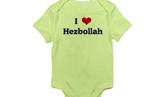 "A baby onesie that says ""I love Hezbollah"" is available in a variety of colors at Amazon.com for $19.99. (Amazon)"