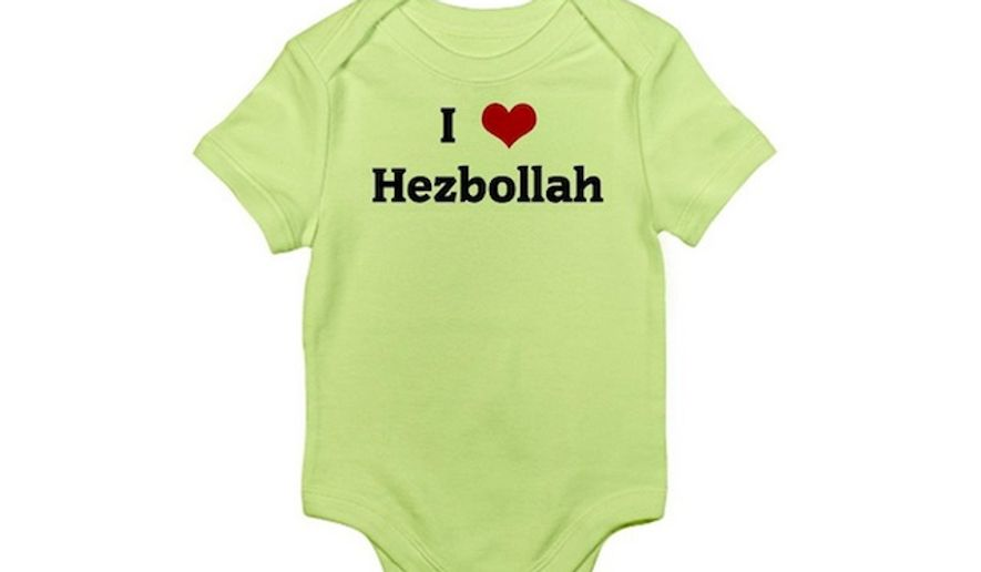 """A baby onesie that says """"I love Hezbollah"""" is available in a variety of colors at Amazon.com for $19.99. (Amazon)"""