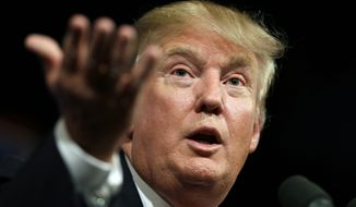 FILE- In this June 16, 2015 file photo, Republican presidential candidate Donald Trump speaks to supporters during a rally in Des Moines, Iowa. Donald Trump's lawyers said Trump and the Miss Universe pageant have sued Univision for $500 million on Tuesday, June 30, 2015, claiming Trump's First Amendment rights were violated when the company backed out of its contract to air the Miss USA contest. (AP Photo/Charlie Neibergall, File)